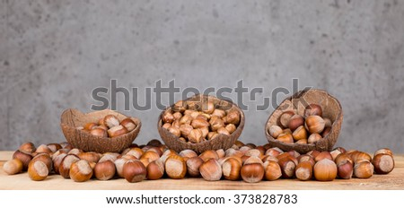 Composition from nuts, nut shells.