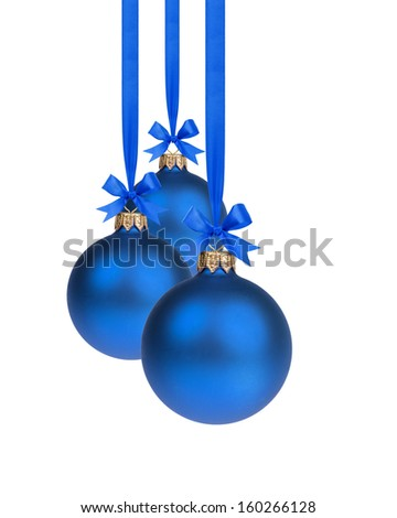 composition from three blue christmas balls hanging on ribbon, white background - stock photo