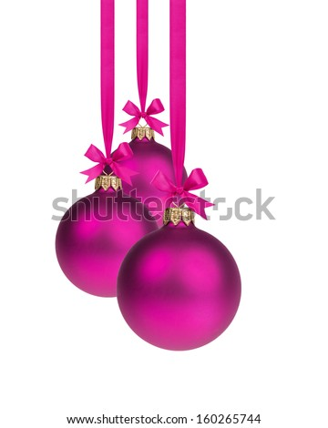 composition from three purple christmas balls hanging on ribbon, white background - stock photo