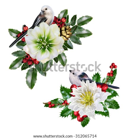 composition garland of hellebore and Christmas berries, two small white birds - stock photo