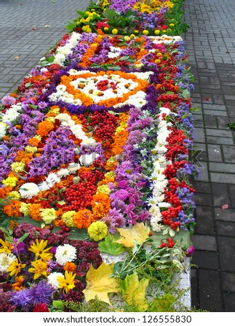 Composition, made from autumn colorful flowers in Druskininkai, Lithuania - stock photo