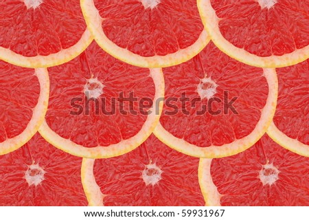 Composition made of slices of red grapefruits