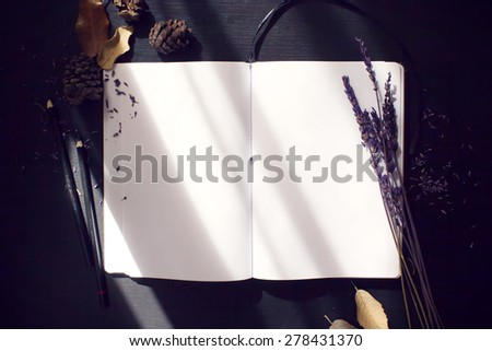 composition notebook, and dried plants - stock photo