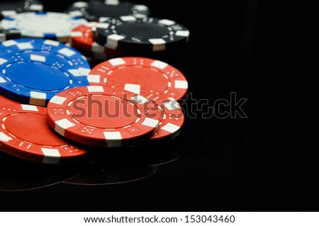 Composition od gambling, black background