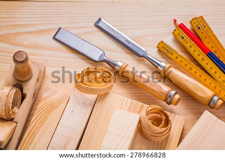 composition od joinery tools chisels woodworkers plane wooden meter pencil  - stock photo
