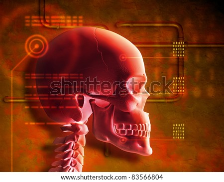 Composition of a red skull and a grunge style background. Digital illustration. - stock photo