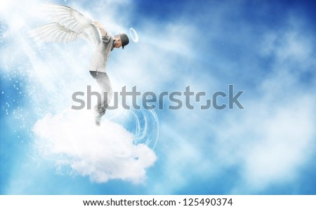 composition of afro amercan guy dancing as angel in the sky
