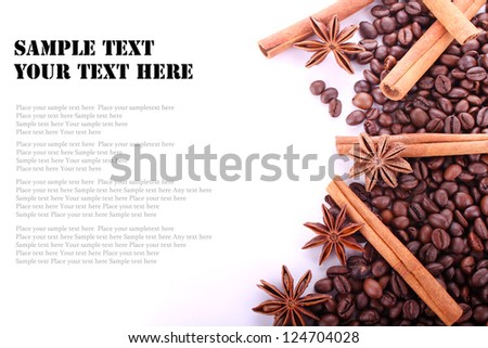 Composition of anise, cinnamon and coffee beans. Place for text . - stock photo