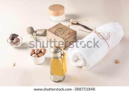 Composition of argan fruits, seeds, oil, cream and soap for skin care