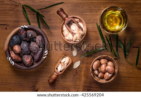 Composition of argan fruits, seeds, oil for skin care