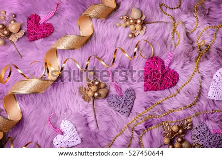 Composition of beautiful Christmas decor on furry background