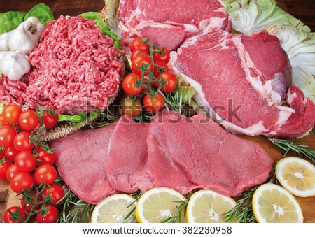 composition of beef, ground pork with rosemary and mushroom salad