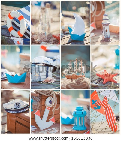 Composition of boats and nautical equipment. Sea theme decor. Outdoor.