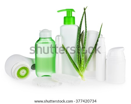 Composition of body care and beauty products isolated on white - stock photo