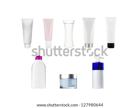composition of bottles and tubes - stock photo