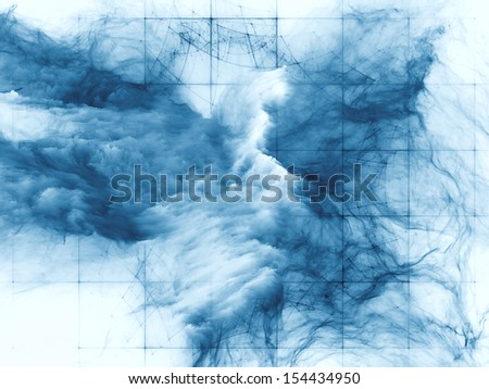 Composition of bursting strands of fractal smoke and paint on the subject of design, science, technology and creativity - stock photo