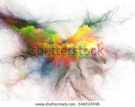 Composition of  bursting strands of fractal smoke and paint to serve as a supporting backdrop for projects on design, science, technology and creativity - stock photo