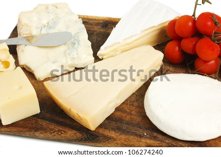 composition of cheese on the table - stock photo