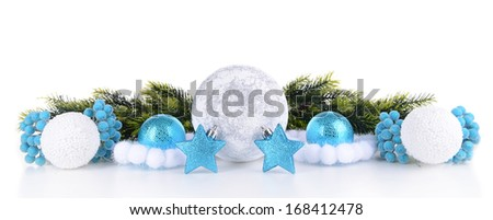Composition of Christmas decorations isolated on white