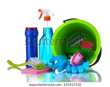 Composition of cleaning products with a bucket isolated on white - stock photo