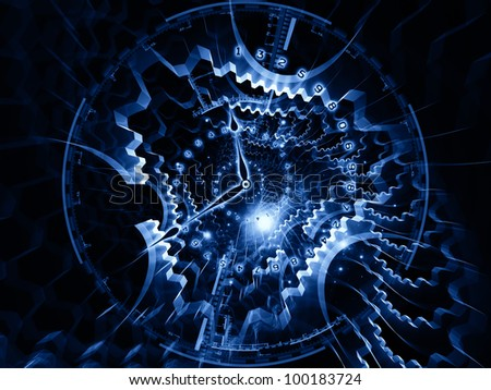 Composition of clock hands, gears, lights and numbers on the subject of time sensitive issues, deadlines, scheduling, temporal computational processes, digital technologies, past, present and future - stock photo