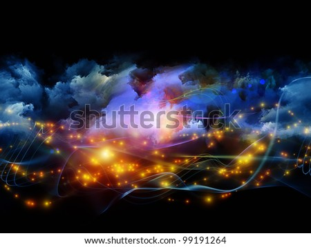Composition of clouds of fractal foam and abstract lights on the subject of art, spirituality, painting, music , visual effects and creative technologies - stock photo