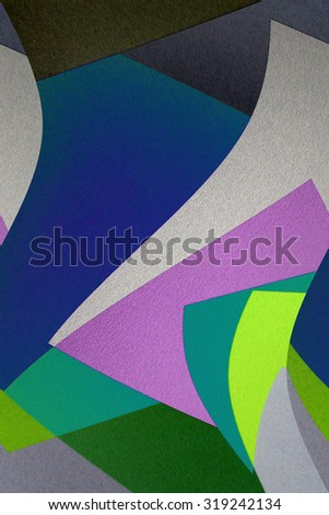 Composition of color polygons. Contemporary digital collage of genuine photographic backgrounds. Natural raw graphics for text fragmentation within print or web page. - stock photo