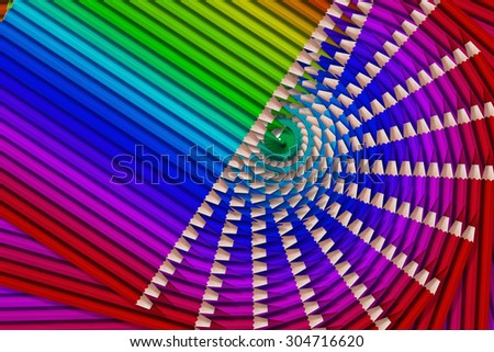 composition of colored pencils on white background - stock photo
