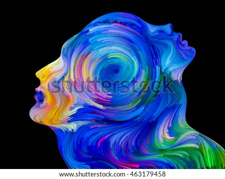 Composition of colorful and surreal human profiles suitable as a backdrop for the projects on love, passion, romantic attraction and unity