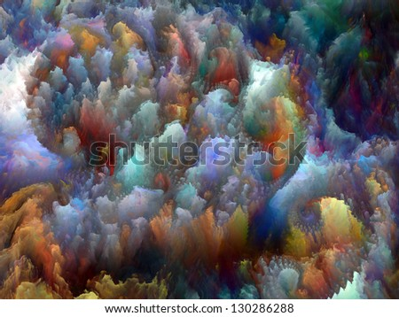 Composition of colorful fractal turbulence with metaphorical relationship to fantasy, dreams, creativity,  imagination and art - stock photo