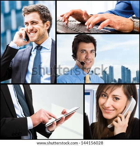 Composition of communication related images - stock photo