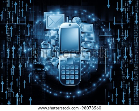 Composition of communication symbols,  messaging icons and technological design elements as a concept metaphor for global communications, messaging, information sharing and modern technologies - stock photo