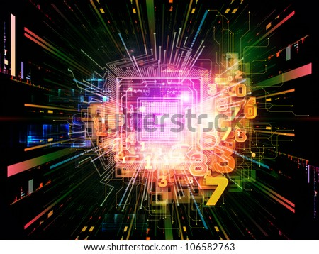 Composition of CPU graphic and abstract design elements on the subject of digital equipment, computing and modern technologies