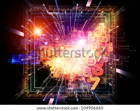 Composition of CPU graphic and abstract design elements suitable as a backdrop for the projects on digital equipment, computing and modern technologies