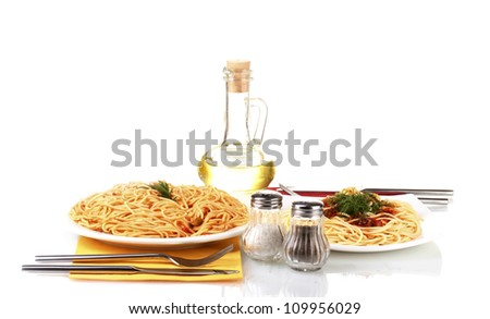 composition of delicious cooked spaghetti with tomato sauce isolated on white