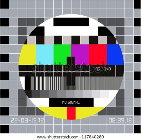 Composition of different colorful tiles. Routine RGB maintenance, when channel tv have technical problems - stock photo