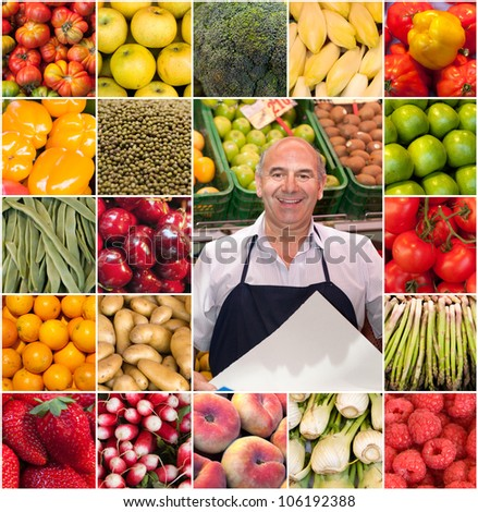 Composition of different fruits and vegetables and a smiling greengrocer - stock photo