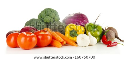 Composition of different vegetables isolated on white - stock photo