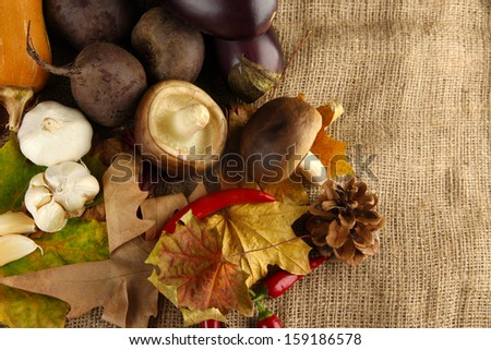 Composition of different vegetables with yellow leaves on sackcloth background