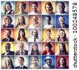 Composition of diverse people smiling - stock