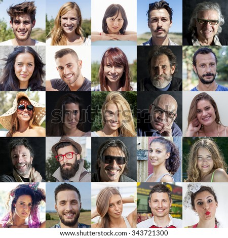 composition of diverse people smiling - stock photo