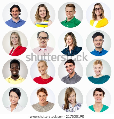 Composition of diverse smiling people