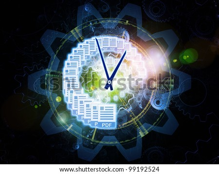 Composition of document icons, lights and abstract design elements on the subject of document processing, office paperwork, virtual workspace and cloud networking - stock photo