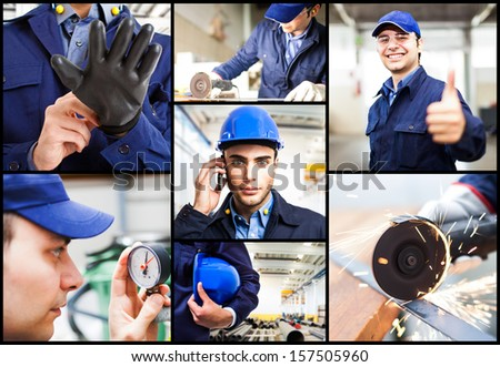 Composition of engineering related images - stock photo