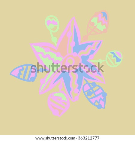 Composition of floral  pattern, doodles,leaves, branches,  stylized flower, star,zigzag,spots, hole  . Hand drawn.