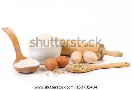 Composition of flour and eggs. - stock photo