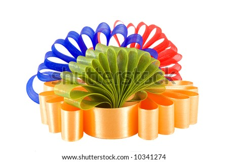 composition of four colored ribbons symbolizing all seasons and computer colors - stock photo