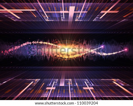 Composition of fractal grids, lights  and technological elements on the subject of science, computing and modern technologies - stock photo