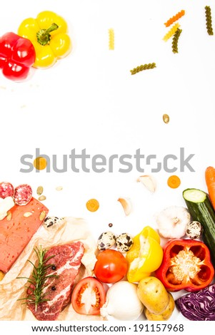 Composition of fresh ingredients, suitable as a frame. Food frame. Illustration concept.