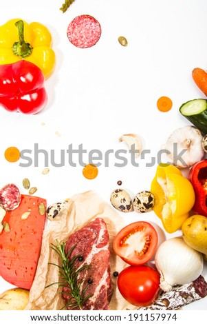 Composition of fresh ingredients, suitable as a frame. Food frame. Illustration concept. - stock photo